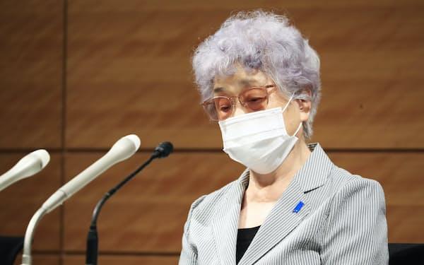 記者会見する横田早紀江さん(9日、国会内)