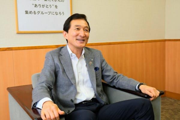 渡辺会長は弁当宅配サービスや飲食店の新業態で社員の雇用を守れると語る(東京都大田区のワタミ本社)