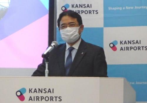 関西エアの山谷社長は新型コロナの影響を「未曾有の事態」と話した(10日、大阪府泉佐野市)