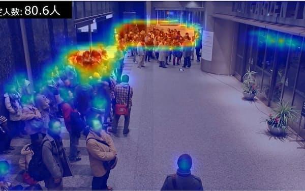 カメラ画像に写る人の数や密集度合いを測定できる画像解析AIを開発した