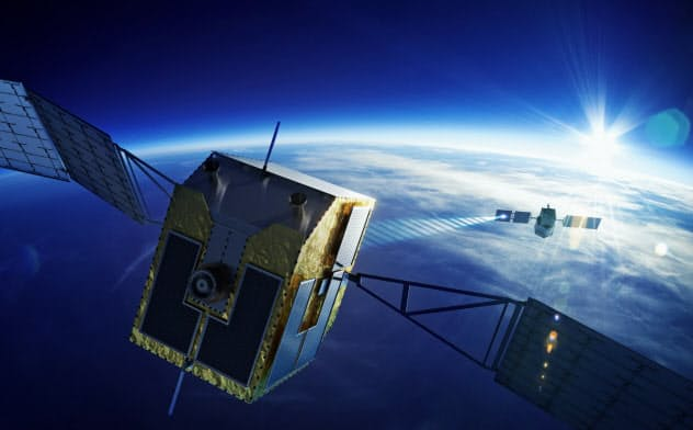 レーザーによる宇宙ごみ除去衛星のイメージ
