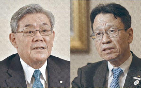 関電の八木前会長(左)と岩根前社長