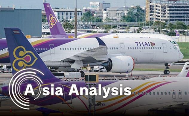 タイ12bet国际平台航空は新型コロナ以前から経営不振が続いていた(バンコク近郊のスワンナプーム空港)=小高顕撮影