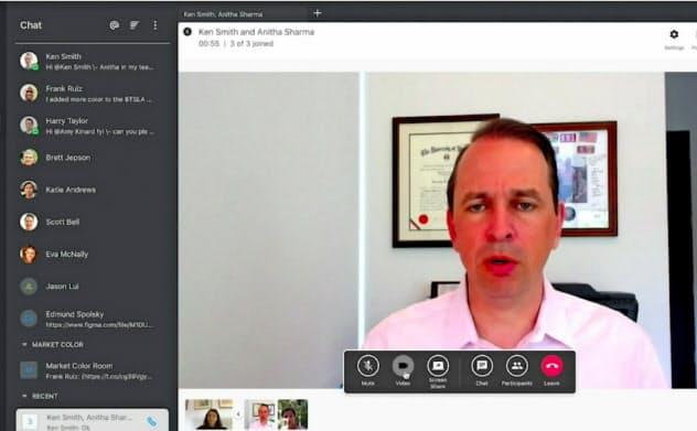 シンフォニーのビデオ会議の画面