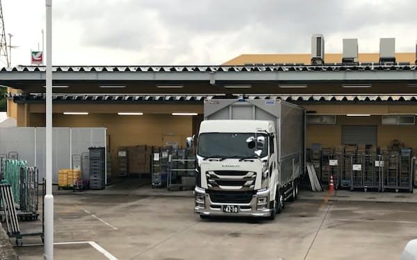 新システムで商品補充の効率化を進める(福島県郡山市の店舗の納品ゲート)