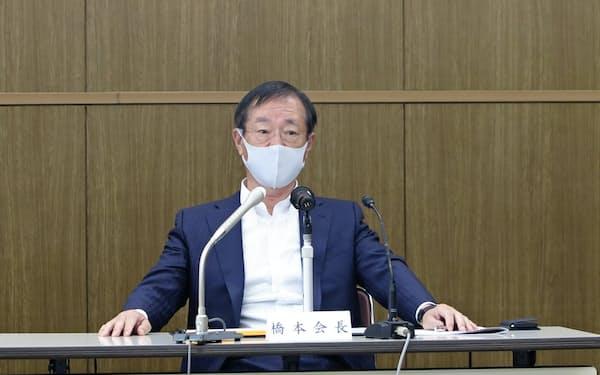 鉄連会長に就任した日鉄の橋本英二社長(16日、東京都中央区)