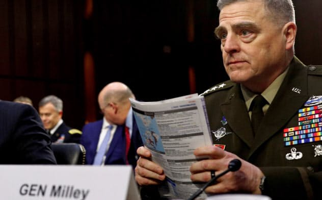 U.S. Chairman of the Joint Chiefs of Staff Gen. Mark A. Milley testifies beside U.S. Defense Secretary Mark Esper before a Senate Armed Services Committee hearing on