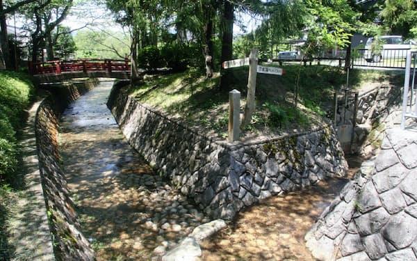 右側の流れは日本海、左側は瀬戸内海に向かう(丹波市の水分れ公園)