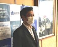 北九州市での休業要請解除を発表する福岡県の小川洋知事(17日、福岡県庁)