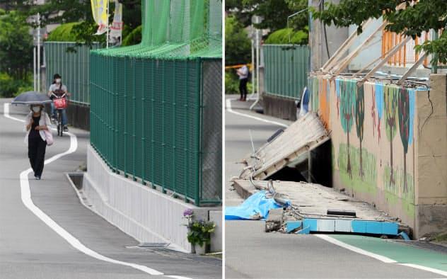 ブロック塀が倒壊し、女子児童が犠牲になった現場(写真右、2018年6月)と金属製フェンスに変わった現場(15日、大阪府高槻市の寿栄小)