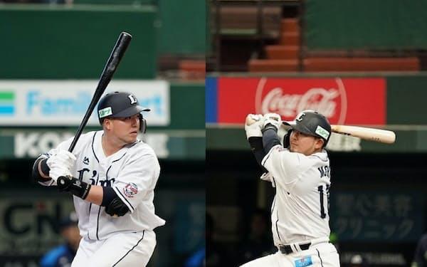 埼玉西武ライオンズの山川穂高選手(左)と森友哉選手