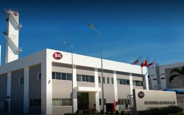 産業ガスを製造するシン・インダストリアル・ガス・ベトナム社の工場