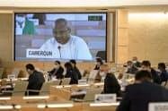 スイス・ジュネーブの国連欧州本部で開かれた人権理事会(19日)=ロイター