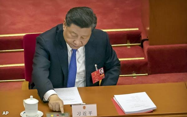 中国は「香港国家安全法」の制定を進める(5月の全人代)=AP