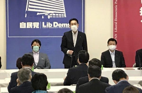 自民党経済成長戦略本部の会合であいさつする岸田政調会長(中)(22日、自民党本部)