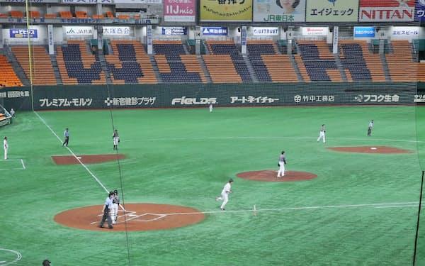 無観客で行われたプロ野球の巨人対阪神戦(19日、東京ドーム)