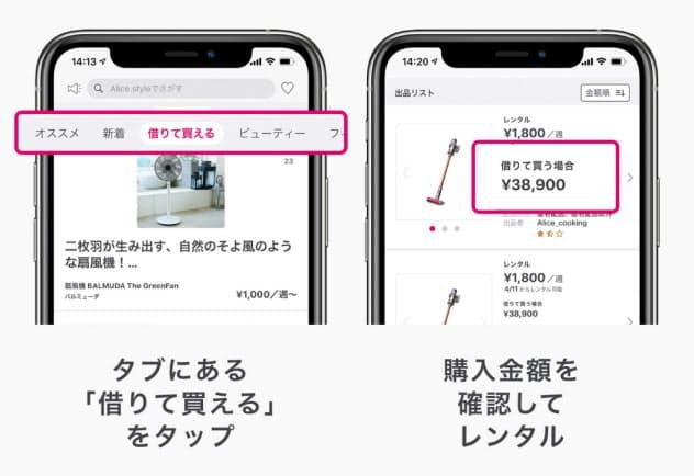 アリススタイルのアプリで商品を購入するイメージ