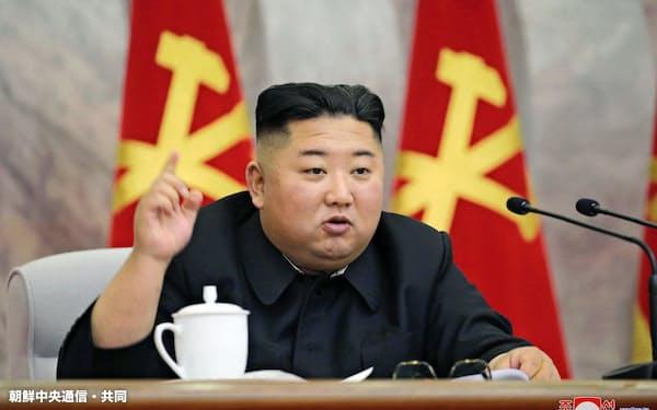5月の党中央軍事委員会拡大会議に出席する金正恩氏=朝鮮中央通信・共同