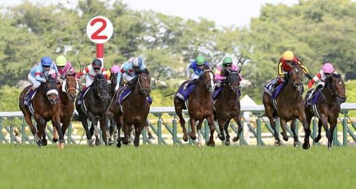 安田記念は2019、18年の桜花賞馬であるグランアレグリア、アーモンドアイが1、2着。秋にノーザンファーム勢の巻き返しはなるか=共同