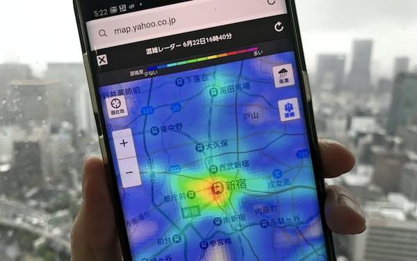ヤフーの混雑レーダーは地図の色合いで人の多さが分かる