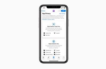 アプリが集める個人情報の種類を表示するiPhone画面のイメージ