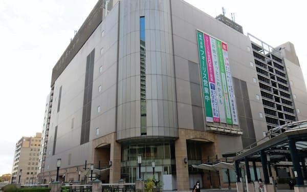 ノジマは伊勢丹府中店が入居していた「フォレストサイドビル」で大型商業施設を運営する(東京都府中市)