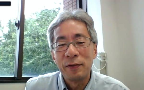 オンラインでインタビューに応じる日本大学准教授の矢嶋敏朗さん