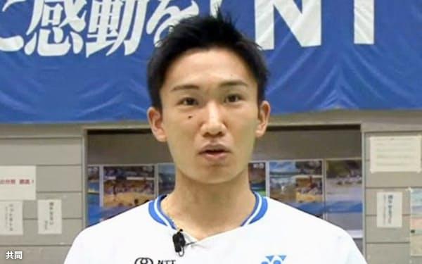 26日、オンラインでの取材に応じるバドミントン男子の桃田賢斗=共同