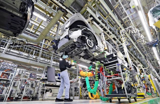 トヨタ自動車元町工場の製造ライン(愛知県豊田市)