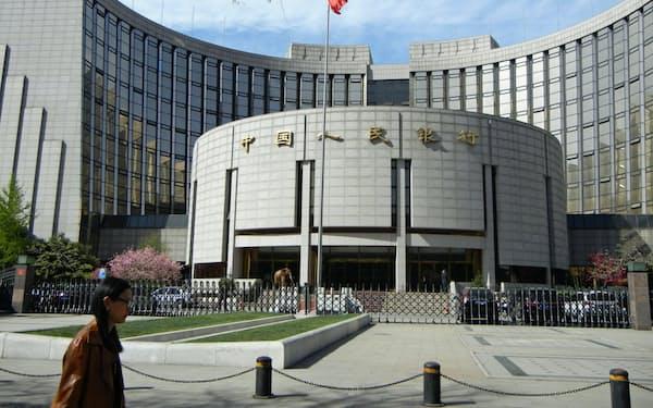 中国人民銀行は現金取引を監視する(北京市内の本店)