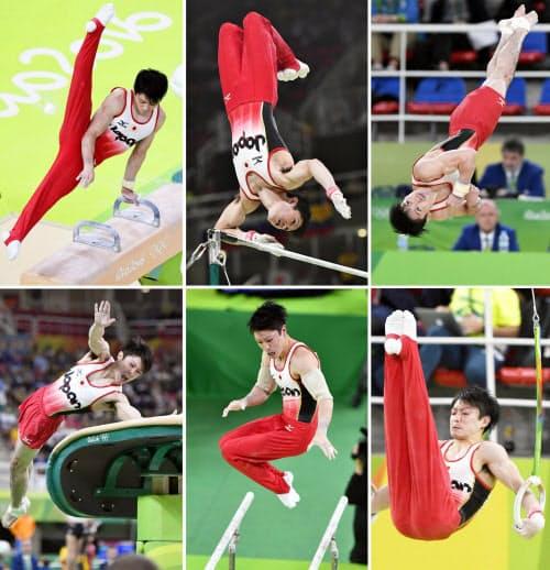2016年リオデジャネイロ五輪体操男子個人総合で、金メダルを獲得した内村航平の演技。(左上から時計回りに)あん馬、鉄棒、床運動、つり輪、平行棒、跳馬=共同