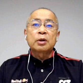 F1開幕へ向け、オンラインで意気込みを語るホンダの浅木泰昭PU開発総責任者=共同