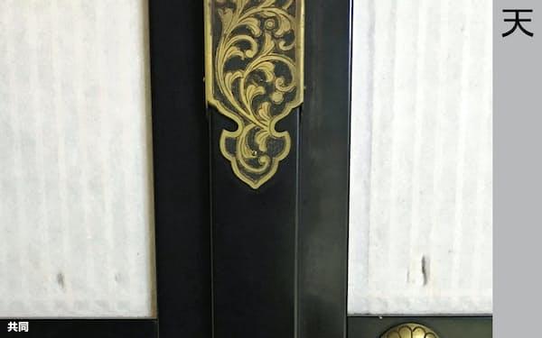 国宝・瑞巌寺本堂内の障子戸。付属するレプリカの装飾金具(中央左側)が窃盗被害に遭った(25日、宮城県松島町)=同寺提供・共同