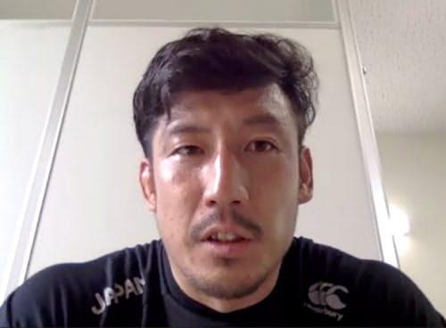 オンラインで取材対応したラグビー7人制男子日本代表候補の小沢大