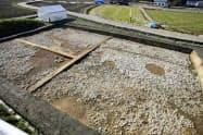 「槻の木の広場」があったとされる飛鳥寺西方遺跡(2013年、奈良県明日香村、同村教育委員会提供)=共同