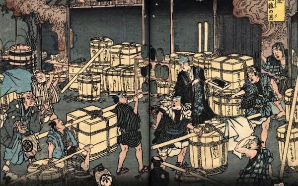 幕末期のコレラ流行では火葬場が混乱した(「安政箇労痢流行記概略」より「荼毘室混雑の図」、国立公文書館所蔵)