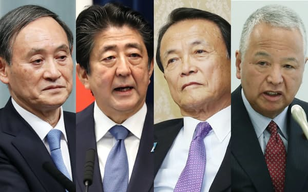 (写真左から)菅氏、安倍首相、麻生氏、甘利氏