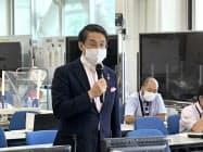 対策本部会議であいさつする平井知事
