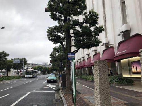 岡山県では3年連続で上昇した(最高価格地点の岡山高島屋前)