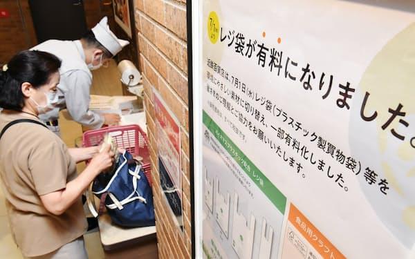 レジ袋が有料になった近鉄百貨店(1日午前、大阪市阿倍野区)