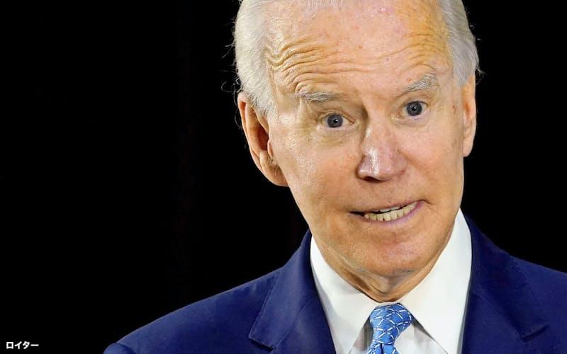 民主党のバイデン前副大統領は3カ月ぶりに会見に臨んだ=ロイター