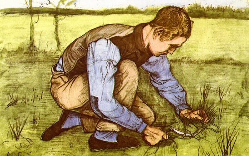 ゴッホ「草を刈る少年」(ユニフォトプレス提供)