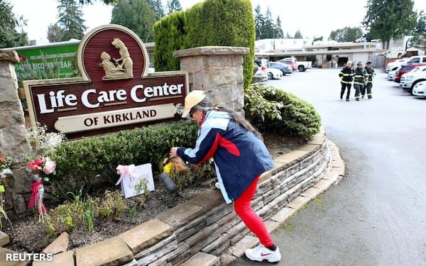 新型コロナウイルスの集団感染が米国で初めて発生したワシントン州の高齢者介護施設=ロイター