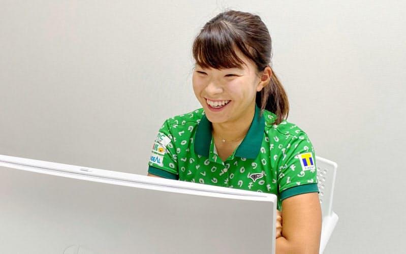 オンライン記者会見で次戦への意気込みを語る女子ゴルフの渋野日向子(3日)=日本女子プロゴルフ協会提供・共同