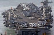 南シナ海で軍事演習を行う予定の米空母ニミッツ=AP