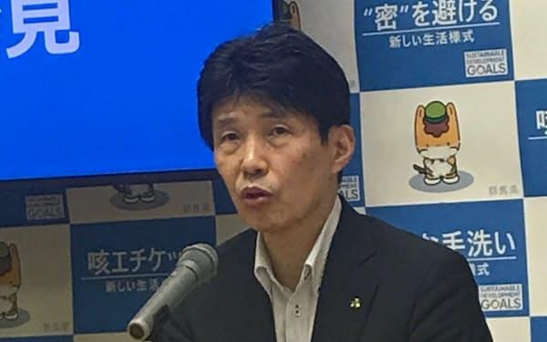 群馬県の山本一太知事は県民に東京都内での3密回避の注意喚起をした(前橋市)