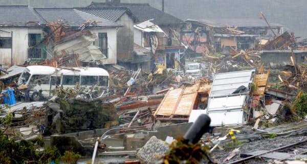 豪雨被害を受けた熊本県球磨村の住宅地(7日午前)=共同