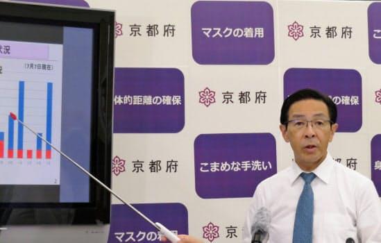 記者会見で新型コロナウイルス感染拡大の判断基準について説明する京都府の西脇隆俊知事(8日、京都府庁)