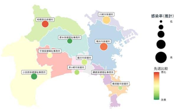 色や円の大きさで、推定感染率の変化を示す(イメージ)