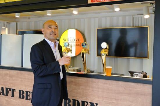 キリンの竹内博史近畿圏統括本部長は「ビールファンを増やしたい」と話した(8日、大阪市)